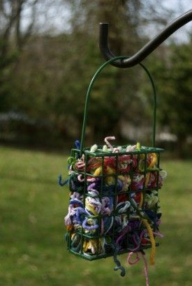 Put your yarn, thread, and small fabric scraps in a suet bird feeder; supplies the birds with nesting materials.: Idea, Suet Feeder, Birds, Garden