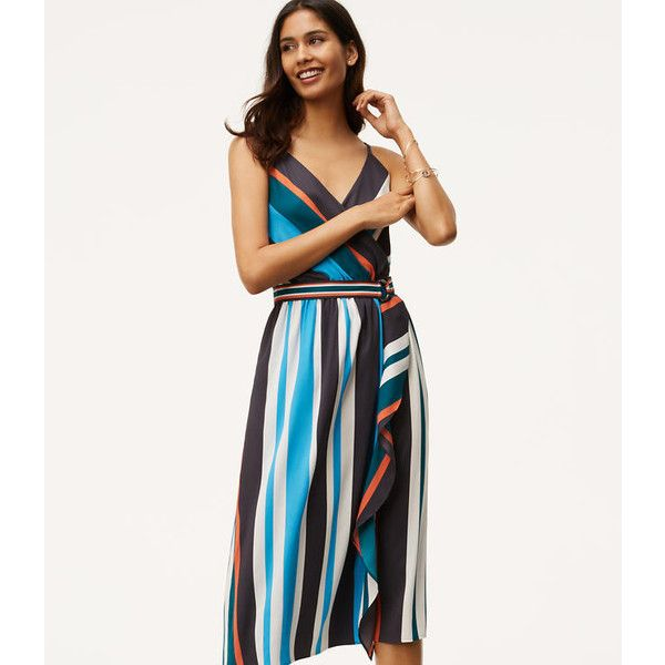 Urbane stripes highlight the fluid silhouette of this effortlessly glam wrap-effect dress.  Crossover V-neck.  Adjustable spaghetti straps.  Elasticized waist.…