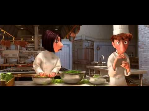 Colette's Engertic Intro the Restaurant Cooking & Staff for new teammate(s) Linguini (& Remy), a Ratatouille film clip