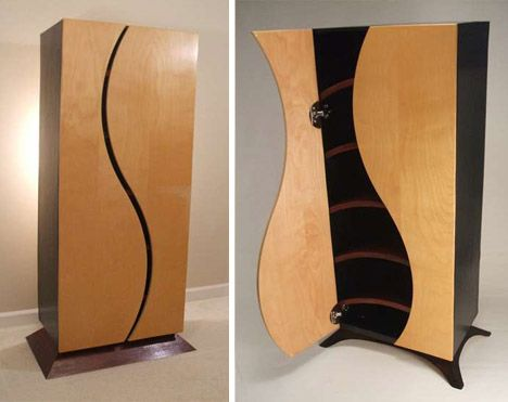 Creative custom curved wooden bookcases dressers Creative wooden furniture