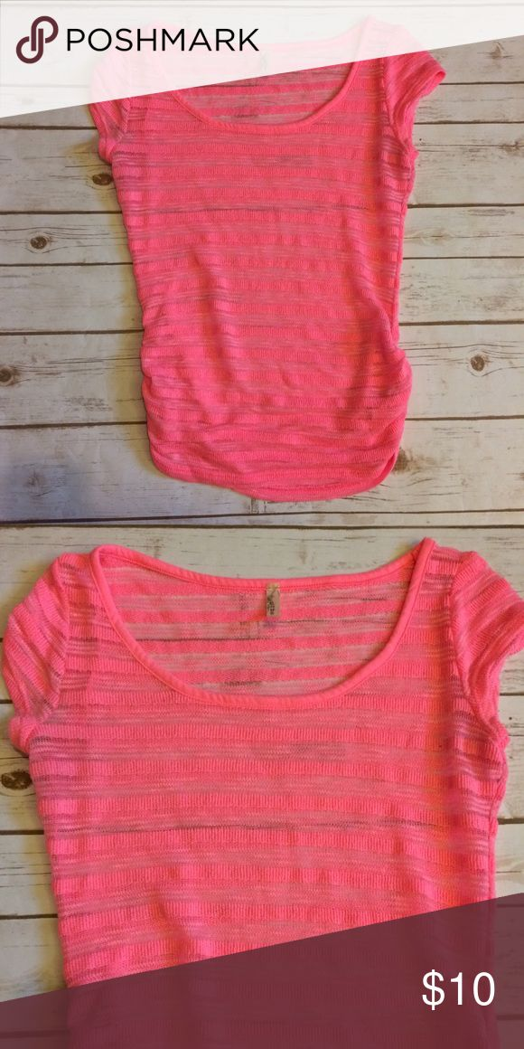 Neon Pink Short Sleeve Top Neon pink with strips of see through, perfect for a pop of color over black or white! Rouching on the sides for flattering fit. Tops Tees - Short Sleeve