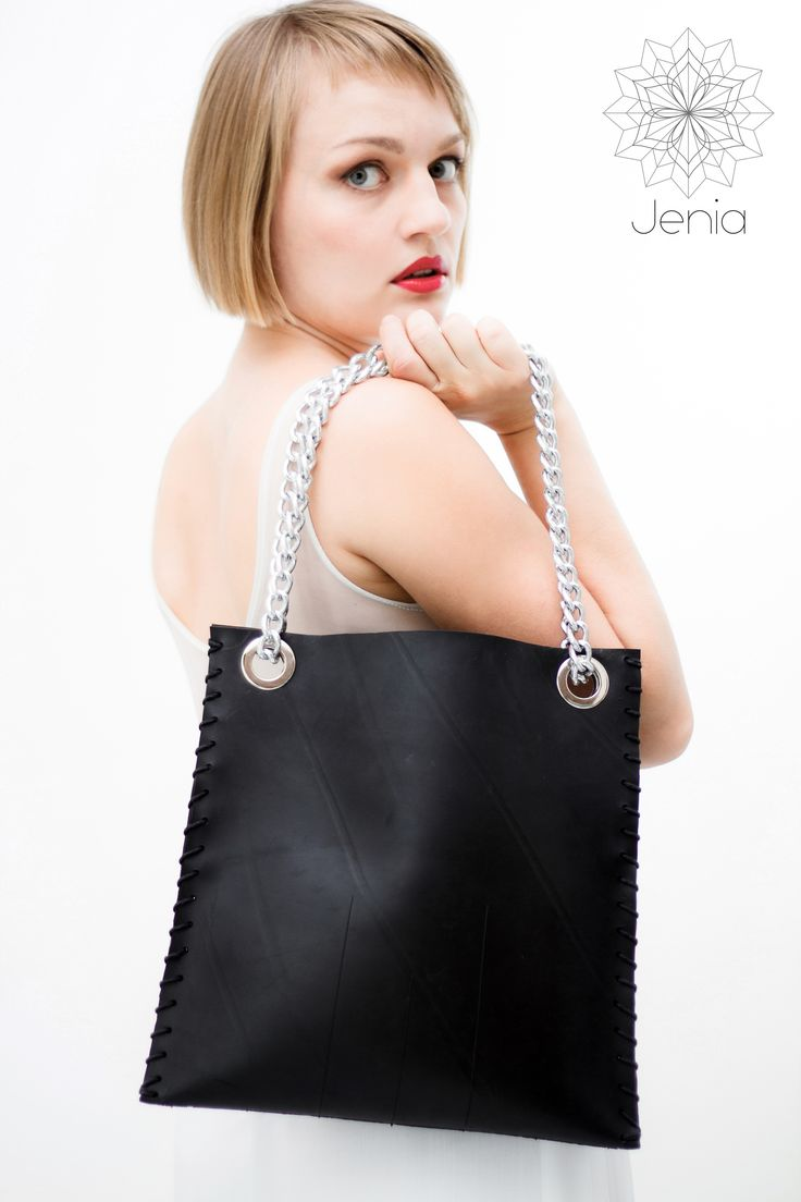 MALEVICH . bag  Tractor inner tube, cotton twine, stainless steel rings and chain.  www.jeniadesign.com  dress design by Rosaspina