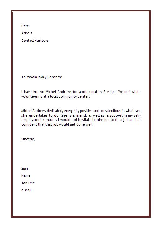 microsoft office letter of recommendation template personal letter of recommendation template microsoft