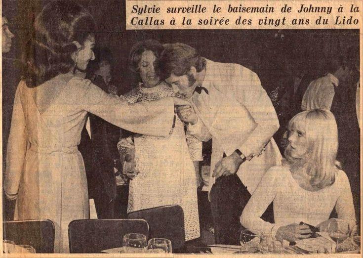 EVGENIA GL LIDOHALLYDAY CALLAS  article France-Soir avec Maria Callas, Sylvie Vartan et Johnny Hallyday pour les 20 ans du Lido en 1966