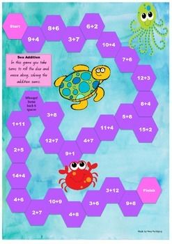 An A3 game board that reinforces addition knowledge. Great for rotations or fast finishers.