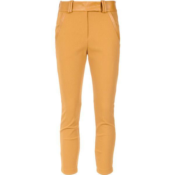 Gloria Coelho belted leggings ($432) ❤ liked on Polyvore featuring pants, leggings, lycra leggings, beige pants, beige leggings, mid rise pants and spandex leggings