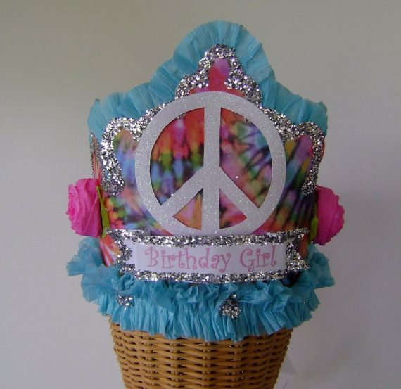 Birthday Party Crown Birthday Party Hat tye dye peace sign