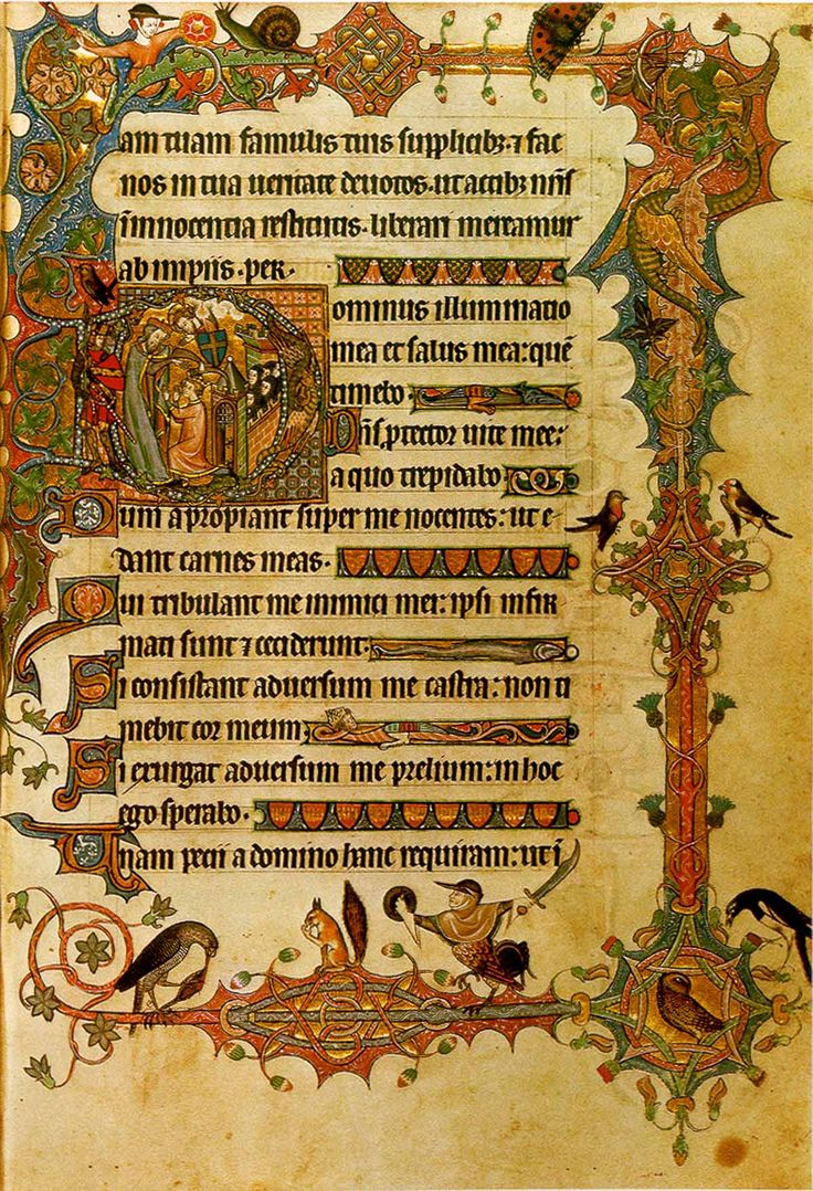 "Mid 14th-century East Anglian manuscript page from the Ormesby Psalter, featuring the opening of Psalm 25 (""Dominus illuminatio mea"")"