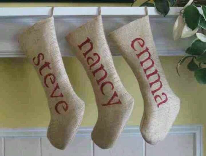 Stockings With Names On Them Part - 32: Burlap Stocking With Stenciled Names. Repinned By  Www.mygrowingtraditions.com