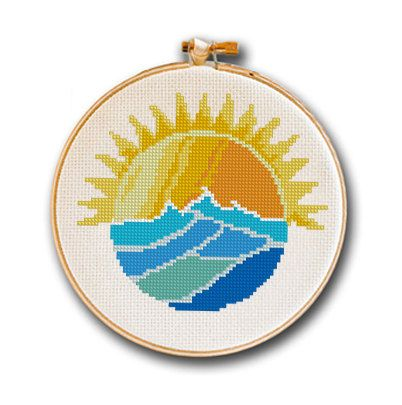 Sun Rising over Ocean Waves Cross Stitch Pattern for Instant Download, modern…
