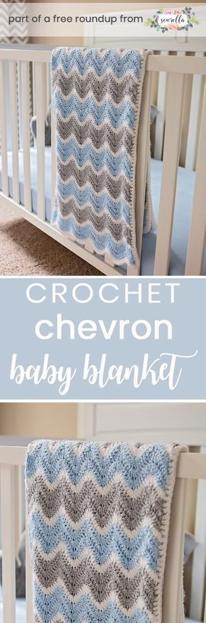Crochet this easy beginner friendly ripple chevron fan stitch boys baby blanket from Southern Daisy from my crochet baby blankets for boys free pattern roundup!