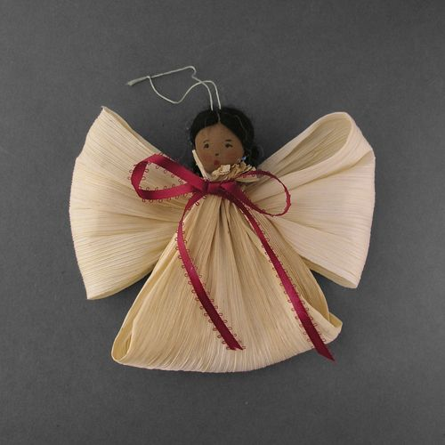 """Corn Husk Angel Ornament by Sylvia Begaye  Size: 6 5/8"""" W x 8"""" L (with String)  Medium: Natural Cornhusk, Yarn, Nylon Stocking, Paint, Turquoise, and Ribbon   Tribe: Navajo  www.wrightsgallery.com"""