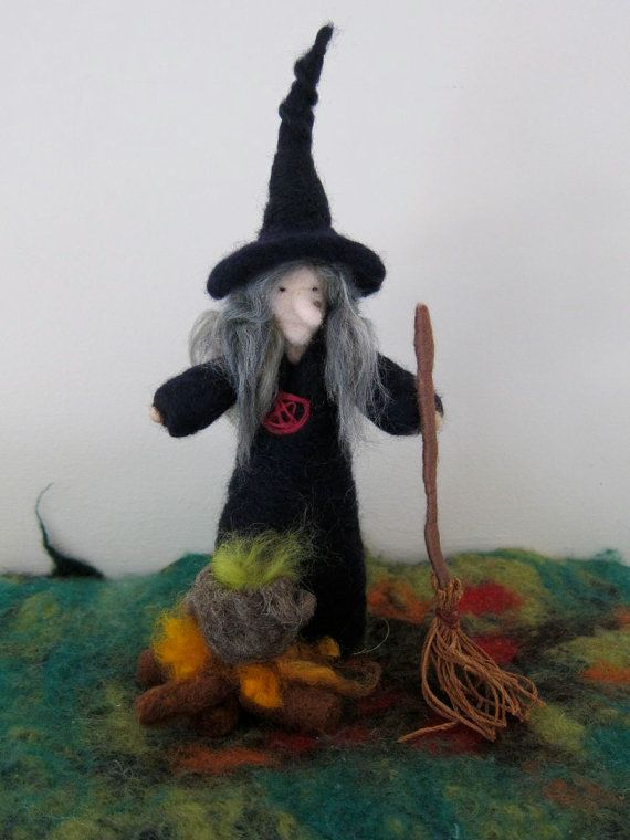 Needle FeltedWickedWitch Waldorf  by FeltandGrain on Etsy, $36.00