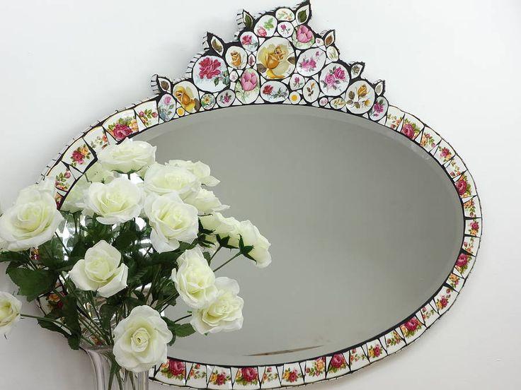 floral crockery wall mirror by anna tilson | notonthehighstreet.com