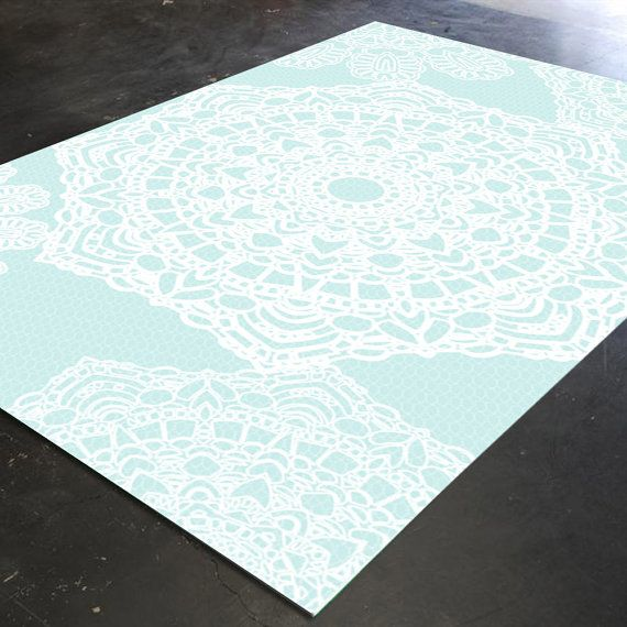 Lace doilie rug  ******************************************************** Please Note- This is not real lace on the rug.