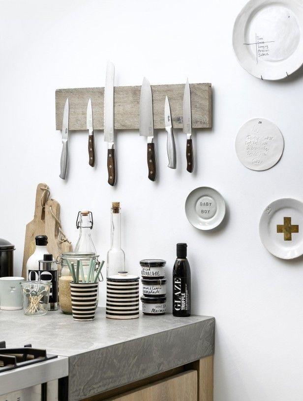 houten messenhouder a la Jamie diy met magneten ingefreesd in oud - Küche Einrichten Ideen