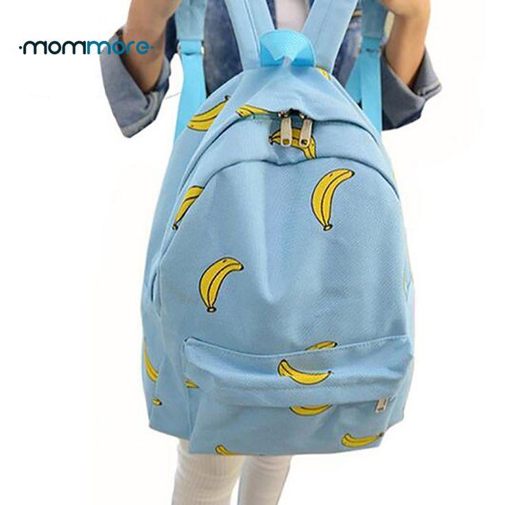 La mamma più Ragazza Carina Banana Modello Donne Zaini Viaggio Pratico Sacchetti di Scuola Unico Modo della Tela di canapa Zaino Per Le Ragazze Adolescenti