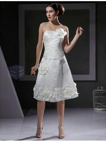 A-line Strapless Satin Knee-length Wedding Dress With 3D Floral