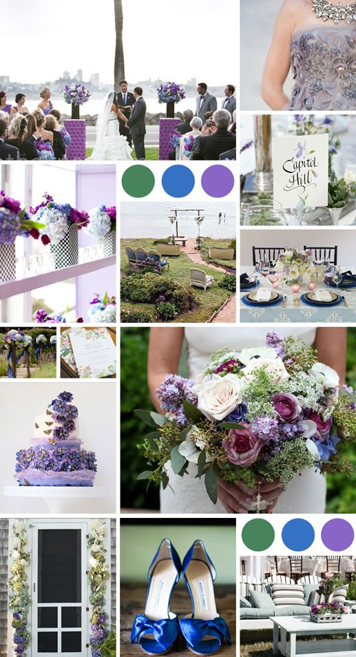 A Lush Garden Color Palette of Lavender, Moss and Blue - The Knot Blog
