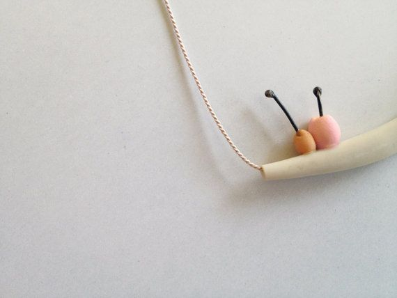 Berries in a branch. pink orange polymer clay necklace by eried