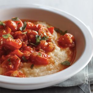 Cherry Tomato Ragu with Polenta. I could see this on the side of a ...