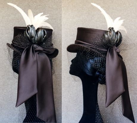 Victorian Riding Hat - wired satin covered buckram Riding Hat.