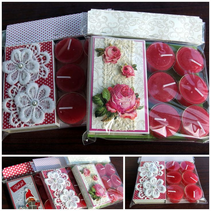 Decorated matchboxes giftwrapped with 6 tea candles.