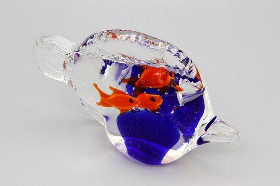 Blown Glass Fish Figurine Colorful Aquarium Glass Etsy Hand Blown Glass Art Glass Fish Glass Blowing