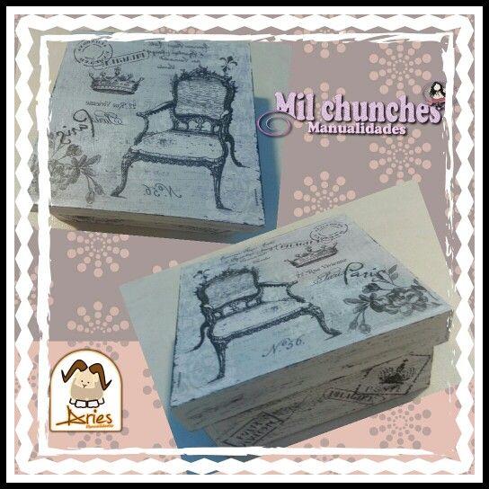 caja vintage con decoupage