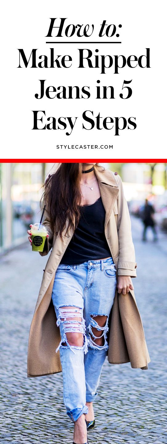 How to Make Ripped Jeans in 5 Easy Steps | DIY distressed denim | @stylecaster | StyleCaster