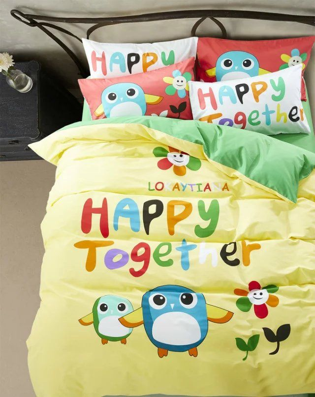 yello green birds cartoon bedding set children bedclothes linens comforters twin full queen size bed covers 500TC cotton sheets