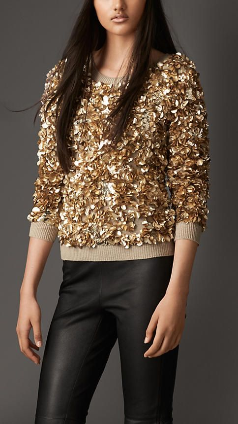 Burberry London Wool Cashmere Crushed Sequin Jumper