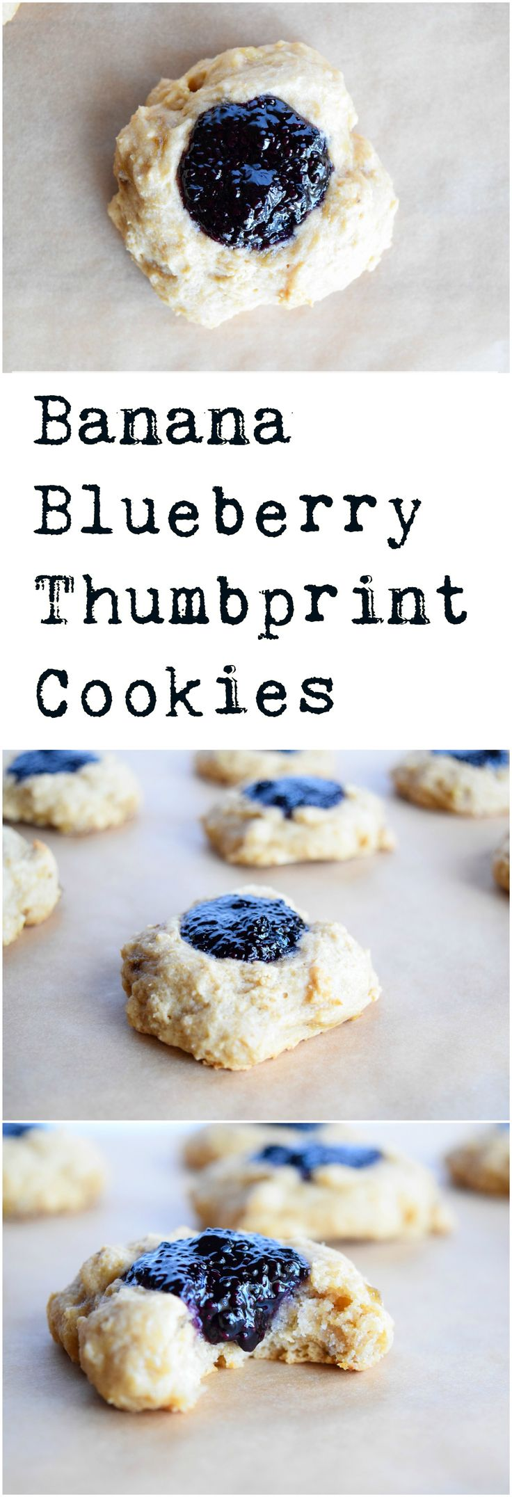 Soft banana cookies are filled with deliciously sweet blueberry jam. Easy, vegan, dairy free, and refined sugar free.