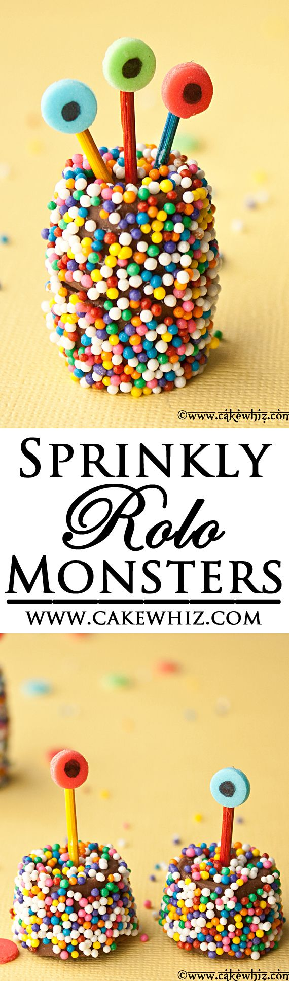 These cute and sprinkly ROLO CHOCOLATE MONSTERS are a perfect treat for Halloween. It's an easy edible craft to do with kids, using basic store-bought supplies! From cakewhiz.com