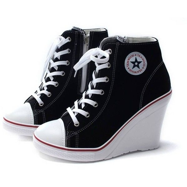 6c6366a504e8 EpicStep Women s Canvas High Top Wedges High Heels Casual Fashion... ❤  liked on Polyvore featuring shoes
