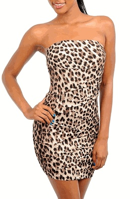 Sexy Pleated Animal Print Cocktail Dress  Item# DR771  $32.00