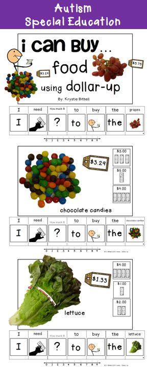 Teach your students how to purchase items using the dollar up/ next dollar method with these adapted books!  While simultaneously reading in complete sentences.  Special Education, Autism, Speech Therapy