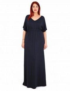 Μάξι φόρεμα με V λαιμουδιά  - Σκούρο Μπλε