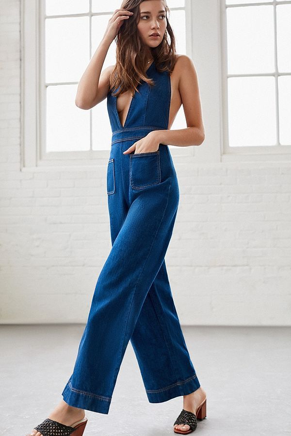 91d6f929ba03 Slide View  3  UO Eleanor Plunging Denim Jumpsuit