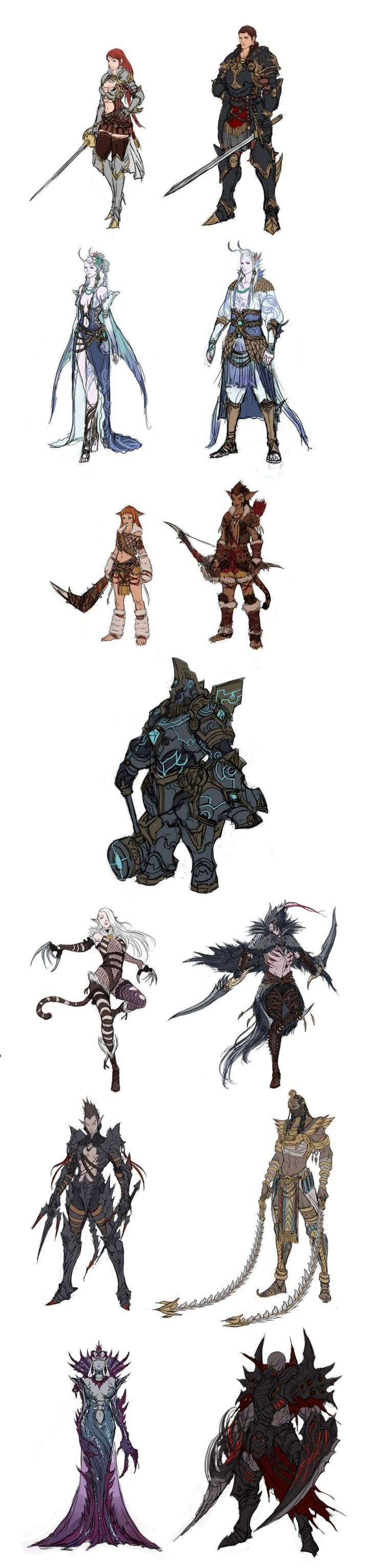 Fantasy Studio Character design   AR - There's an Earth, Water and Dark Djinn there
