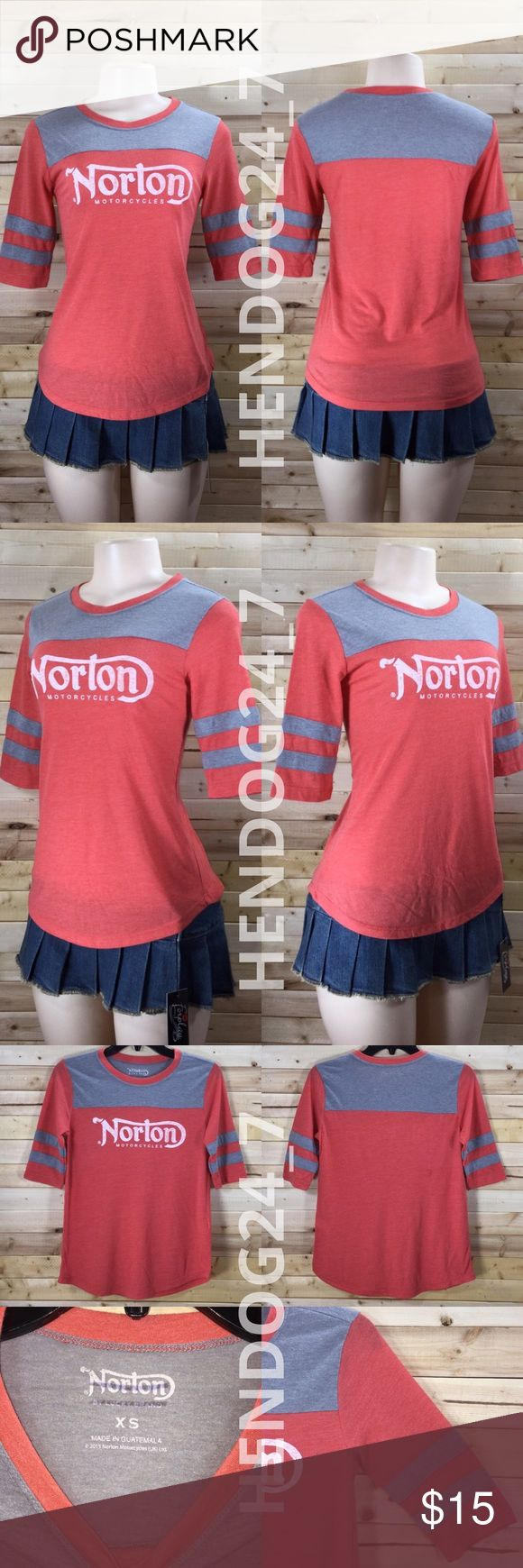"""LUCKY BRAND NORTON MOTORCYCLES WOMENS TEE SZ XS-XL NEW WITHOUT TAGS - NEVER WORN -CLOSEOUT-OVERSTOCK ITEMS, LINE THRU INSIDE BRAND LABEL/TAG.  LUCKY BRAND NORTON MOTORCYCLES WOMEN'S TEE BASEBALL RAGLAN TEE • 3/4 SLEEVES • COLOR: ORANGE / GRAY CREW NECK • U-SHAPED HEM • 50% POLYESTER-37% MODAL-13% COTTON  SIZES XS-XL MEASUREMENTS: •XS (16"""" PIT-PIT, 32"""" BUST, 25"""" NECK-HEM) •S (18"""" PIT-PIT, 36"""" BUST, 25.5"""" NECK-HEM) •M (18.5"""" PIT-PIT, 37"""" BUST, 26"""" NECK-HEM) •L (19"""" PIT-PIT, 38"""" BUST, 27""""…"""