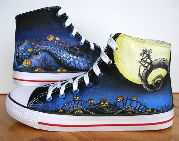 Custom Hand Painted Shoes The Nightmare Before Christmas Jack and Sally on Etsy, $103.03 AUD