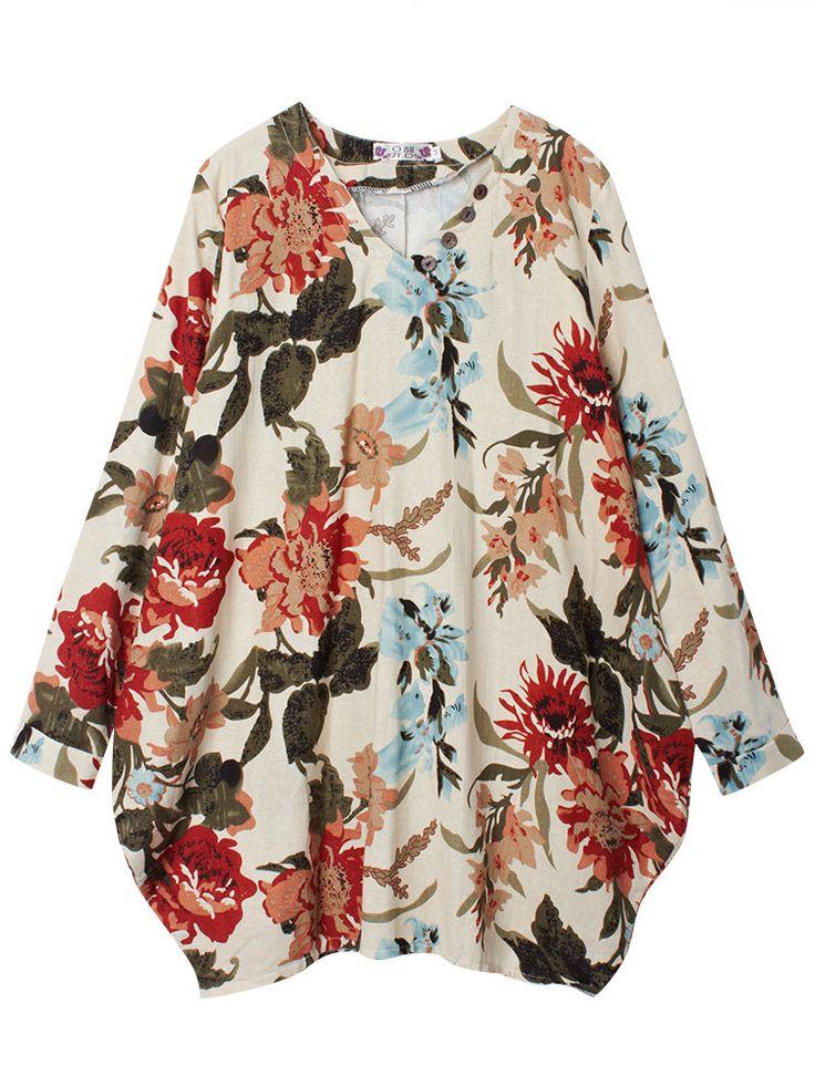 Donne slaccia il vestito a maniche lunghe abbastanza stampa floreale asimmetria orlo - Banggood mobile
