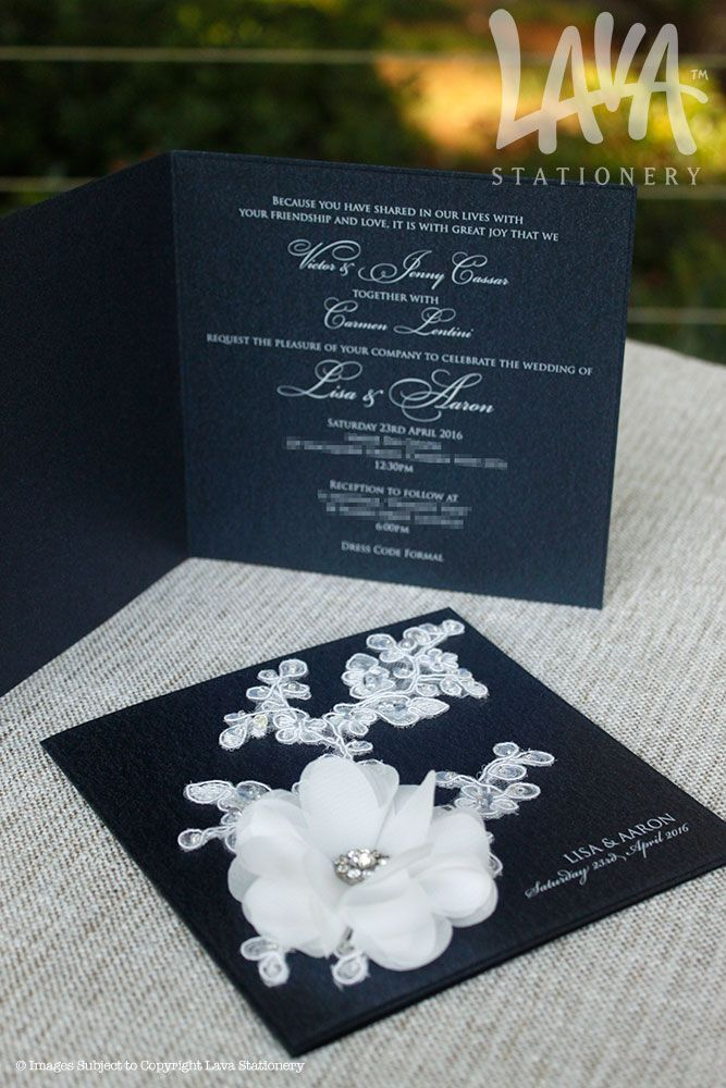 White and navy chiffon lace invitation by