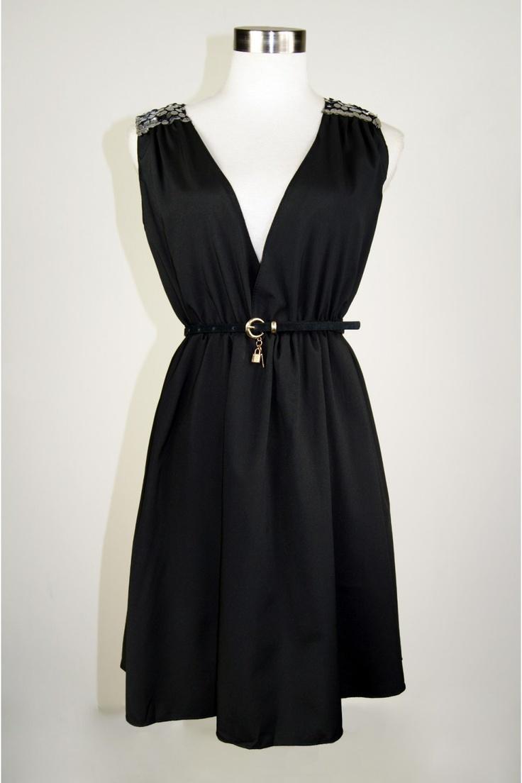 Black dress goals - Starla Shoulder Bling Dress The Geisha Pearl
