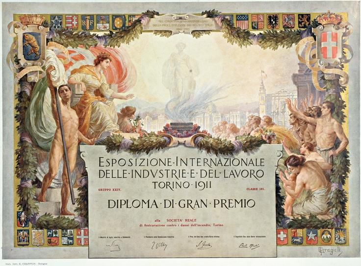 Diploma di Gran Premio dell'Esposizione Internazionale delle Industrie e del Lavoro di Torino 1911. Opera del pittore Giorgio Ceragioli.