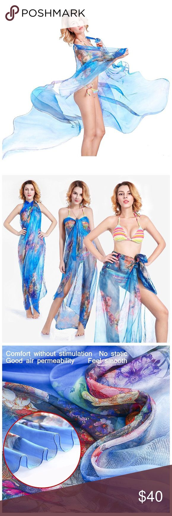 Sarong Skirt Beach Wrap in Blue Floral Sarong Skirt Beach Wrap in Blue Floral. 100% Chiffon Silk. ONE SIZE FITS ALL: Measures 70 x 60 inches. Perfect for body sizes from petite to plus. Swim Sarongs
