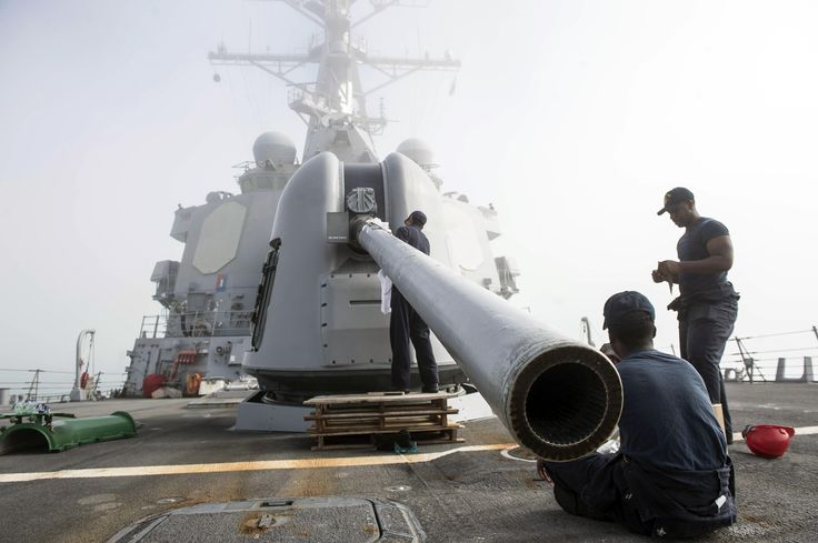 ROTA, Spain (July 25, 2017) Sailors perform maintenance on the 5-inch gun aboard the Arleigh Burke-class guided-missile destroyer USS Ross (DDG 71). The ship is forward-deployed to Rota, Spain conducting naval operations in the U.S. 6th Fleet area of operations in support of U.S. national security interests in Europe and Africa. (U.S. Navy photo by Mass Communication Specialist 3rd Class Robert S. Price/Released)