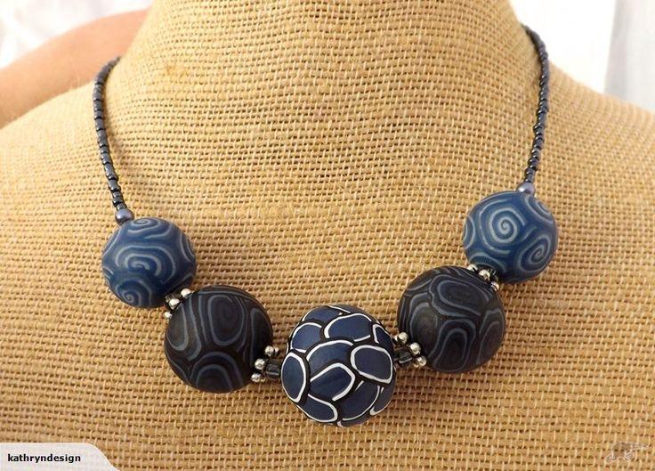 Denim Blue Kathryn Design Chunky 5 Bead Necklace  By Kathryn Design NZ Jewellery Retails for $30 NZD