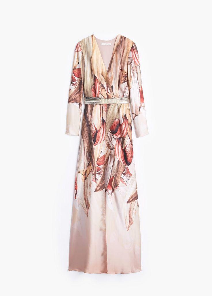 Vestido comprido estampado - Vestidos de Mulher | MANGO